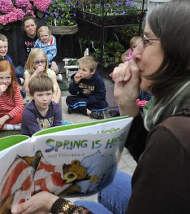 Metro Parks W.W. Seymour Conservatory children's storyteller reading program.    Photos by Russ Carmack